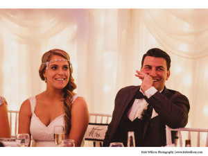 wedding reception photo with bride and groom