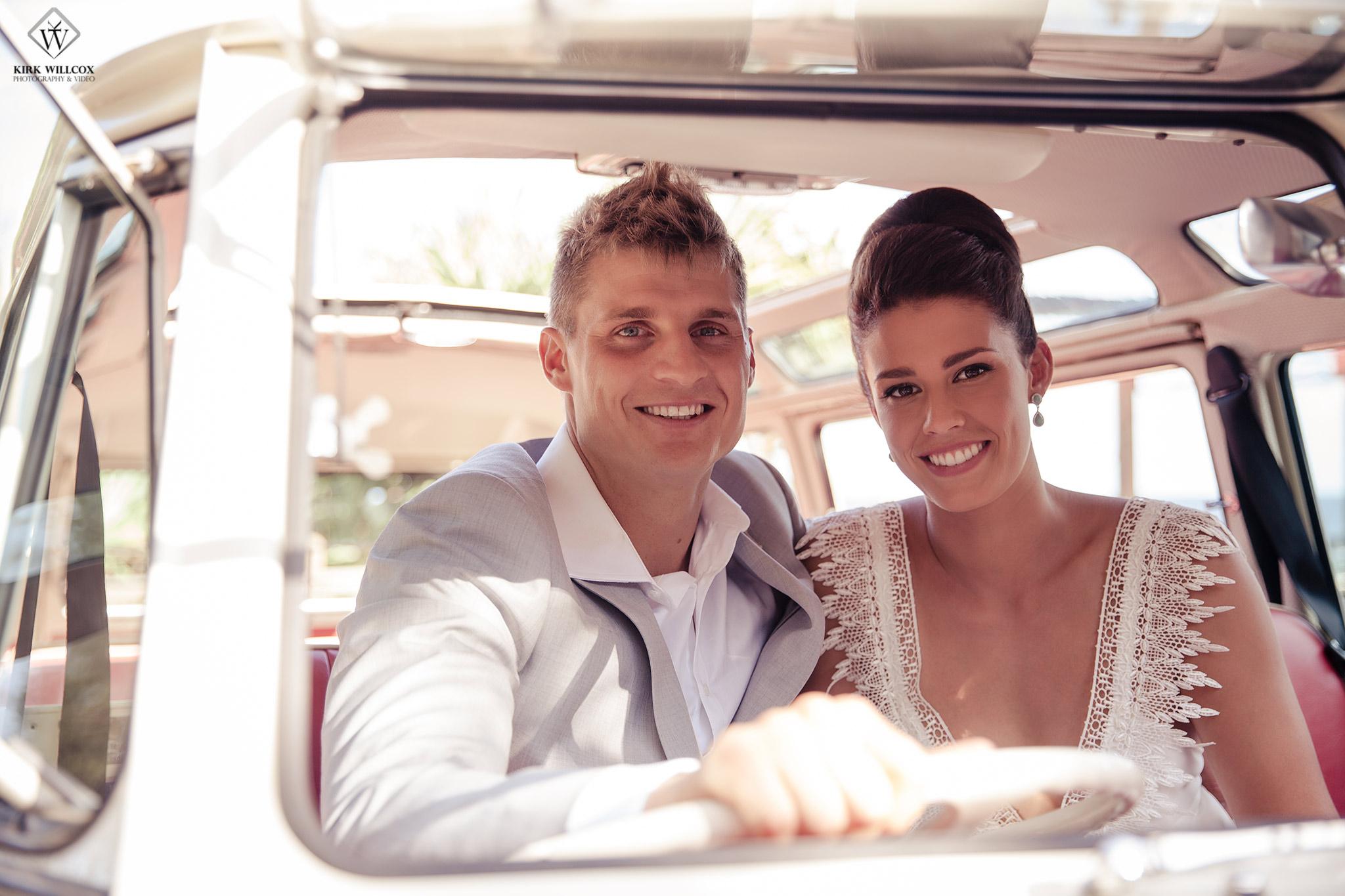 bride & groom VW Kombi van wedding day