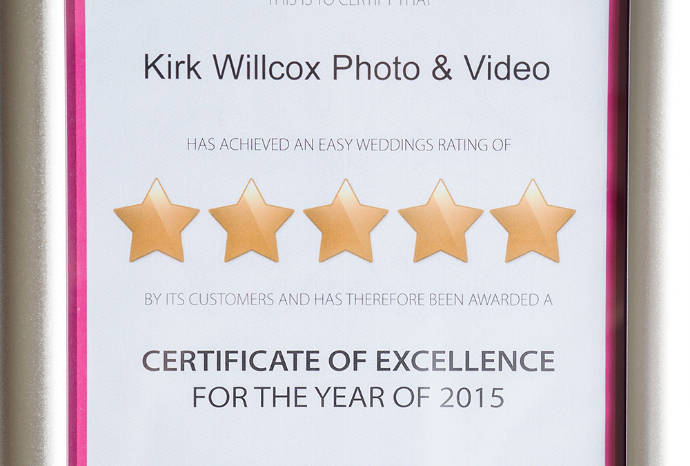 Certificate of excellence for the year of 2015!
