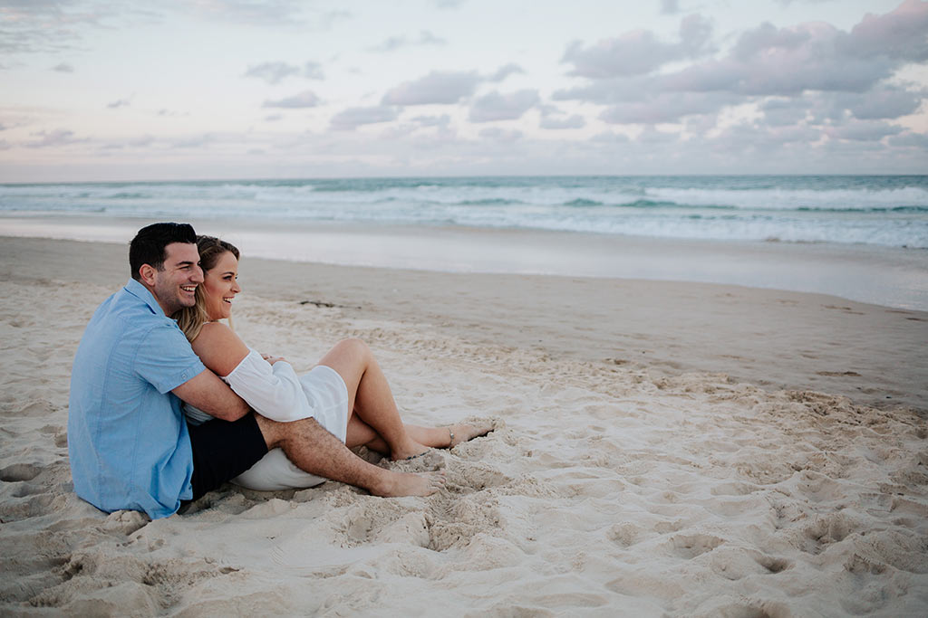 beach engagement shoot on the Gold Coast