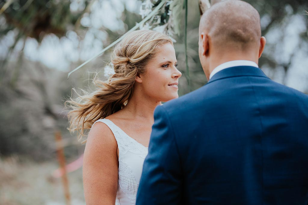 bride during beach wedding on the gold coast